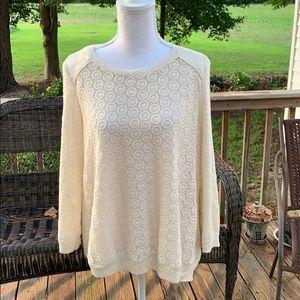 Lucky Brand Split Back Sweater w/ Crochet Detail
